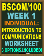 BSCOM/100 Intoduction to Communications Worksheet