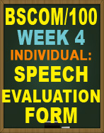 BSCOM/100 SPEECH EVALUATION FORM