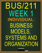 BUS211 BUSINESS MODELS AND SYSTEMS