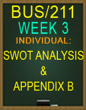 BUS/211 SWOT ANALYSIS AND APPENDIX B NEW 2015 TUTORIAL