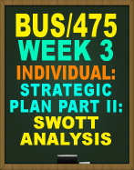 BUS/475 WEEK 3 SWOT ANALYSIS