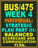 BUS/475 BALANCED SCORECARD
