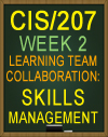 Learning Team CIS/207 Week 2 Skills Management