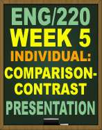ENG/220 WEEK 4 Write a 1,050- to 1,400-word draft of your comparison-contrast paper that makes seeing the differences and similarities of your chosen topics clear.