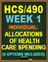 HCS/490 Week 1 Allocations of Health Care Spending