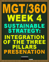 MGT/360 Week 4 Sustainable Strategy: Integration of the Three Pillars Presentation