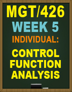 MGT/426 CONTROL FUNCTION ANALYSIS