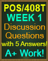 POS/408T Week 1 Pre-Assessment, Post-Assessment, Flashcards, and DQ
