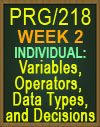PRG/218 Variables, Operators, Data Types, and Decisions
