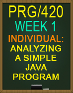PRG/420 Analyzing a Simple Java™ Program