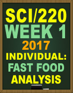 SCI/220 fast food analysis