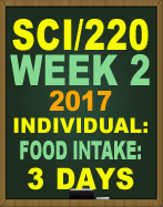 SCI/220 Week 2 Food Intake: 3 Days
