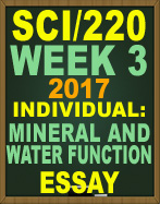 SCI/220 Mineral and Water Function Essay