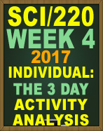 SCI/220 The 3 Day Activity Analysis