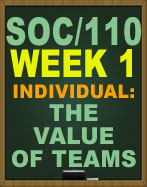 SOC/110 THE VALUE OF TEAMS