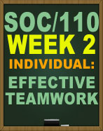 SOC/110 WEEK 2 EFFECTIVE TEAMWORK