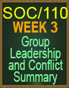 SOC/110 WEEK 3 GROUP LEADERSHIP AND CONFLICT SUMMARY